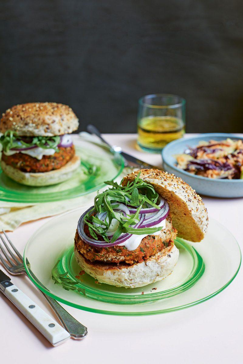 Easy Vegan Chickpea Burger from Easy Vegan Bible by Katy Beskow