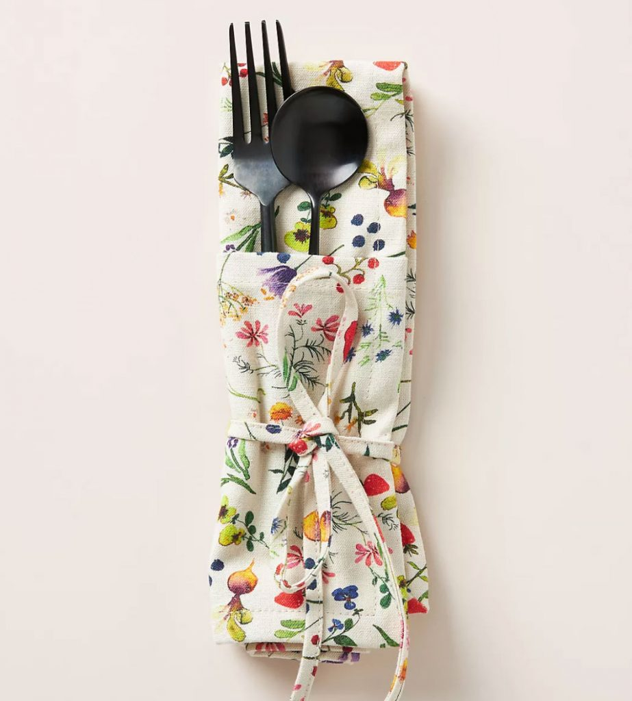 Freesia-floral-print-roll-up-napkin,-£10,-Anthropologie