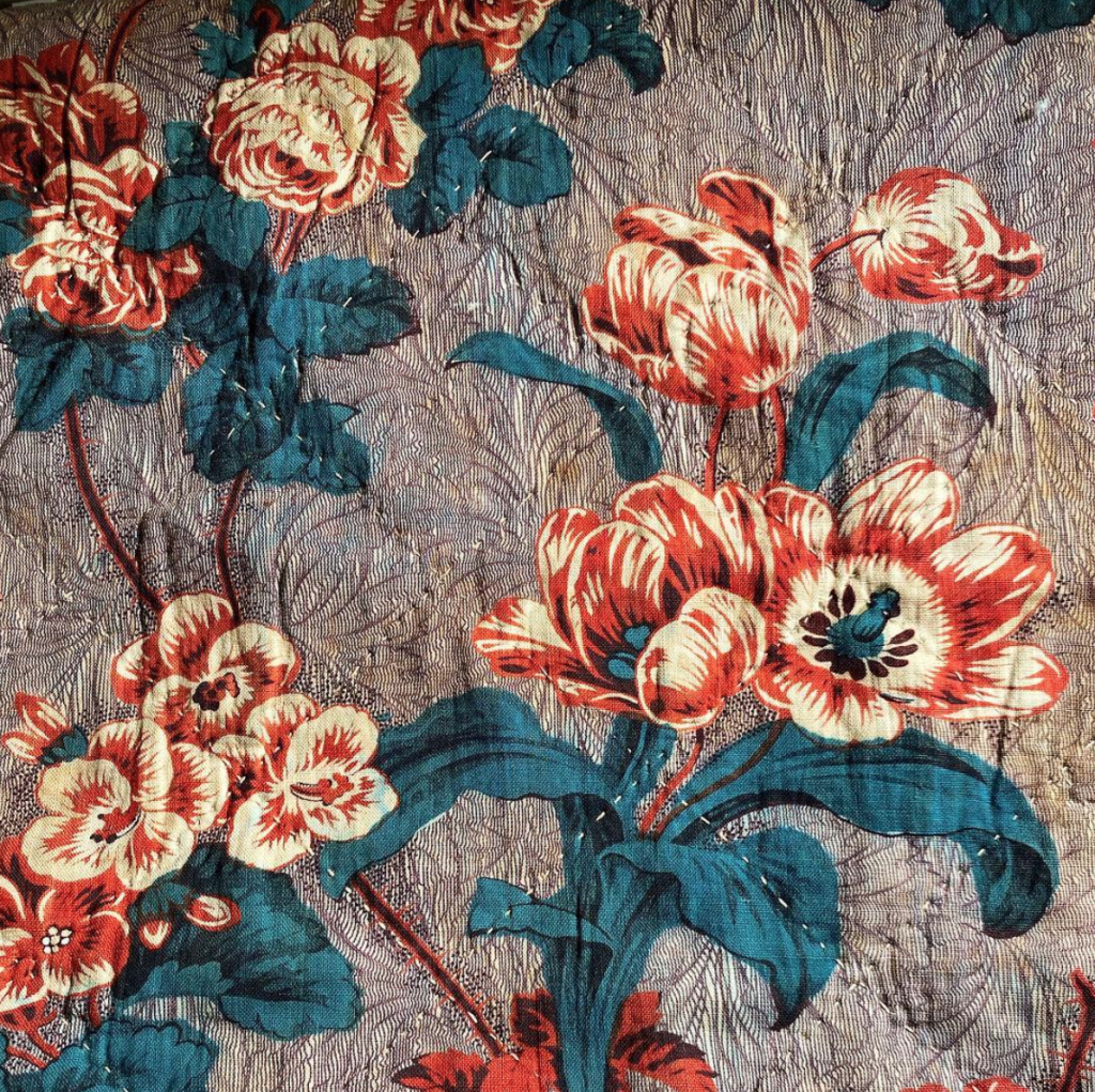 Antique French floral textile from Katharine Pole
