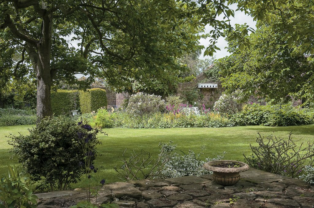 The lawned garden at Lamb House in Rye, East Sussex