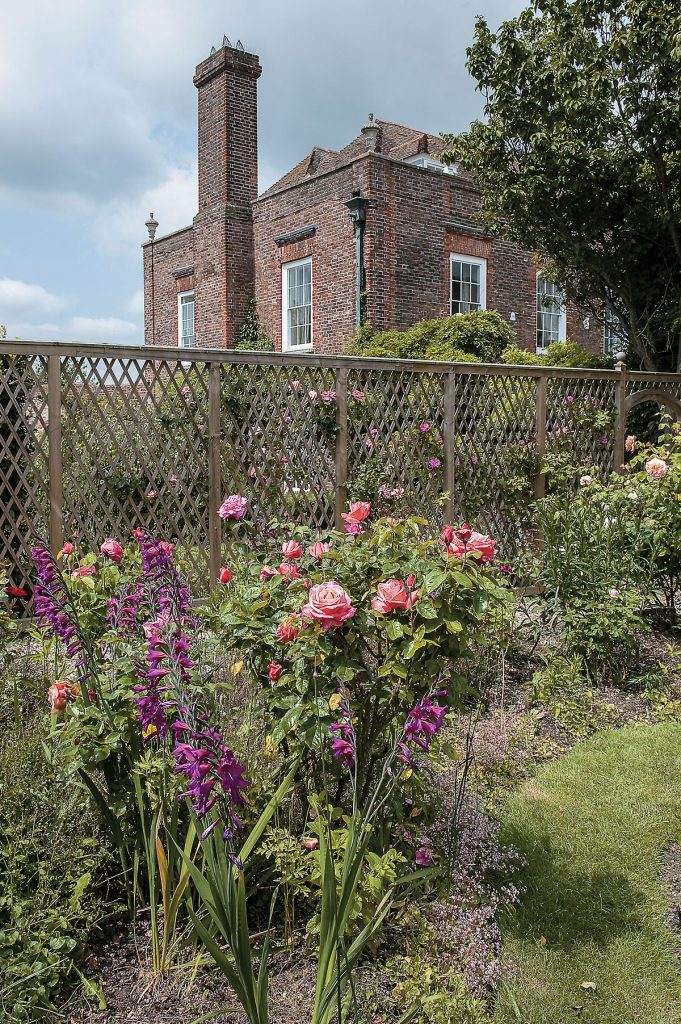 Roses and trellis in the gardens of Lamb House, Rye, East Sussex