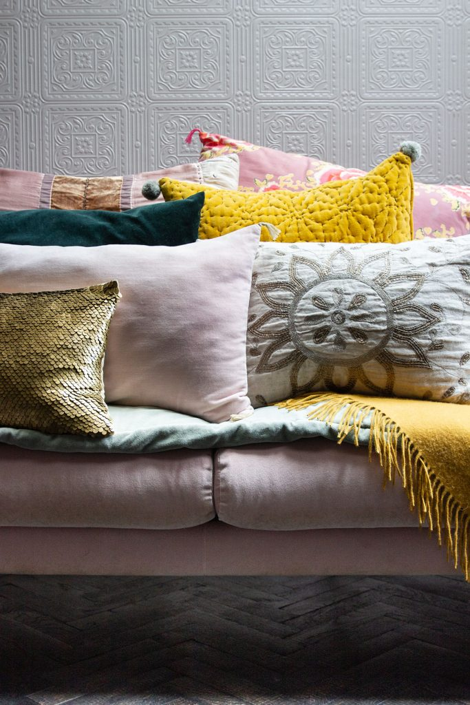 Cushions at the home of Michelle Ogundehin in Brighton. Image: Emma Harris