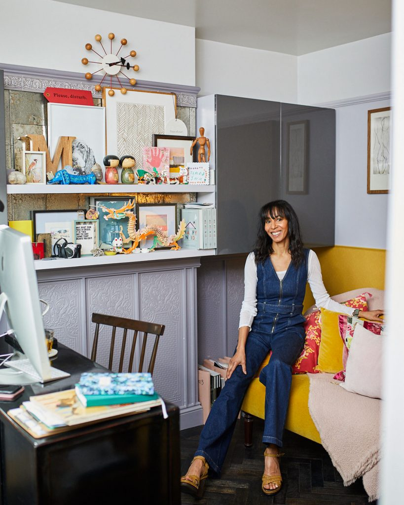 Michelle Ogundehin in her study at her home in Brighton. Image: Victoria Adamson