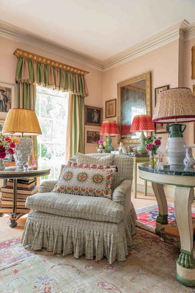 Interior designer Penny Morrison's drawing room armchair © Mike Garlick Photography