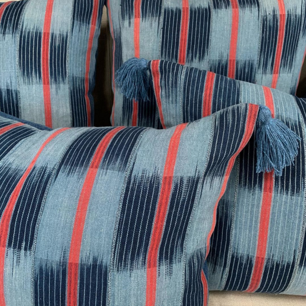 Penny Worrall blue and red vintage cushions