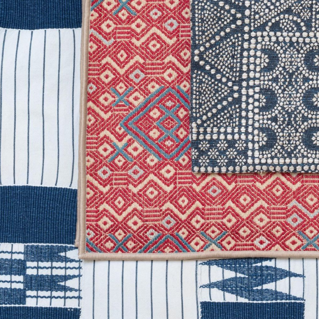 Woven blue and red fabrics from Susan Ellis