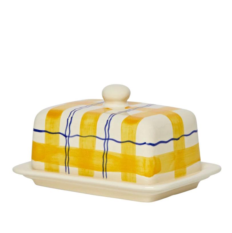 Tartan ceramic butter dish, £45, Matilda Goad