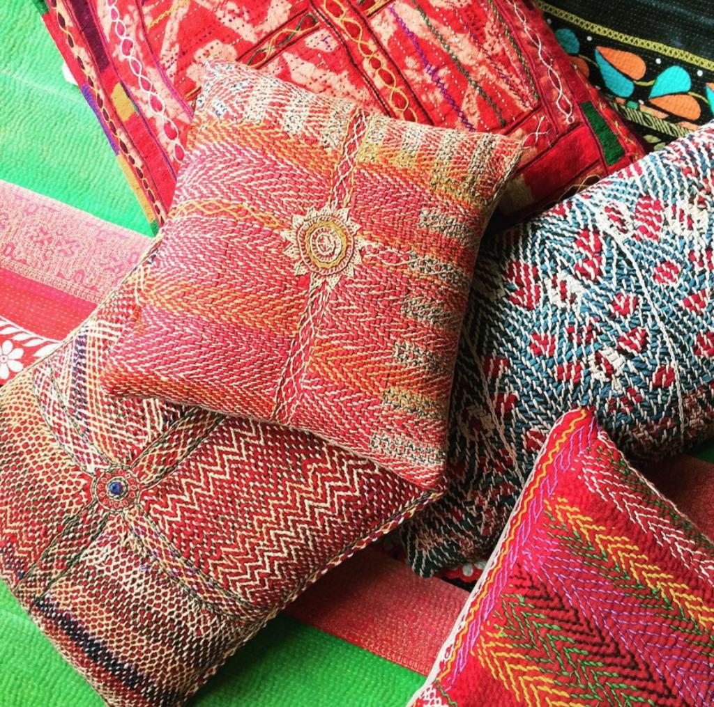 Warris Viani colourful vintage cushions