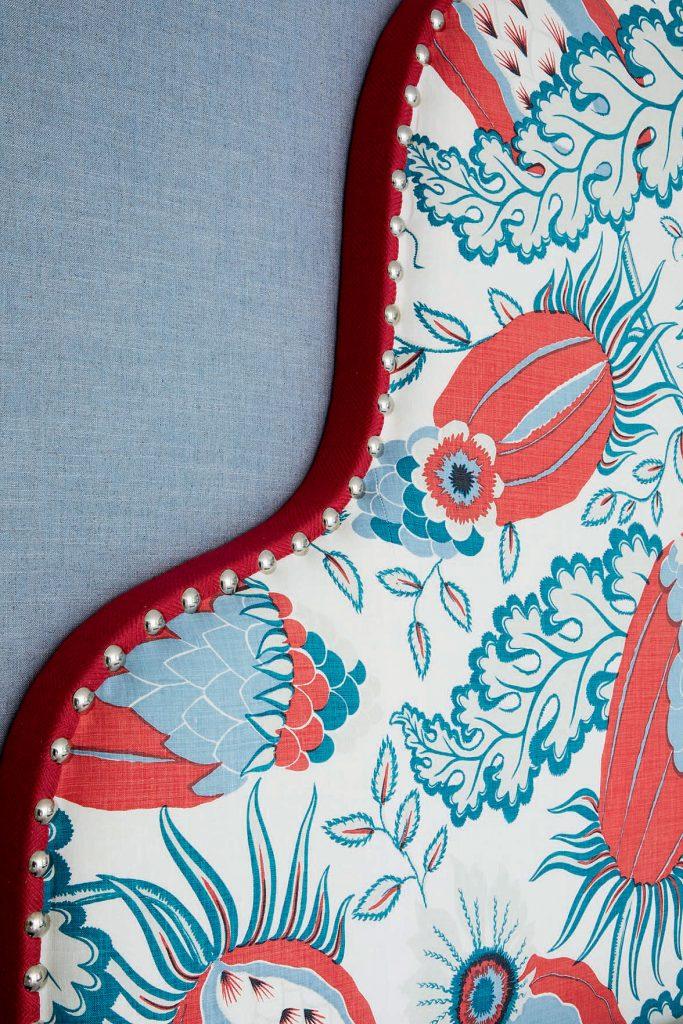 Kit-Kemp-blue-and-red-headboard-detail. Image: Simon Brown