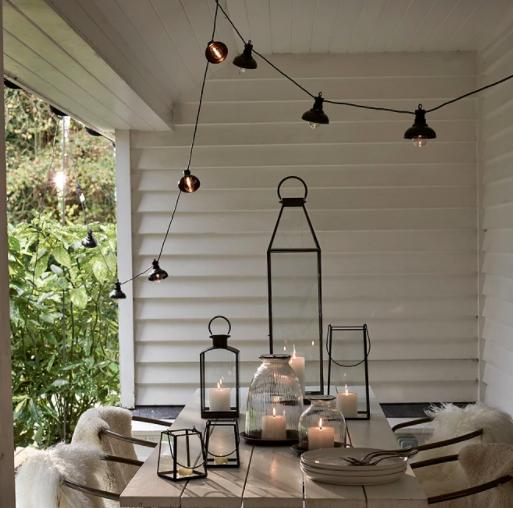 Metal Pendant String Lights - 10 Bulbs £45.00, The White Company
