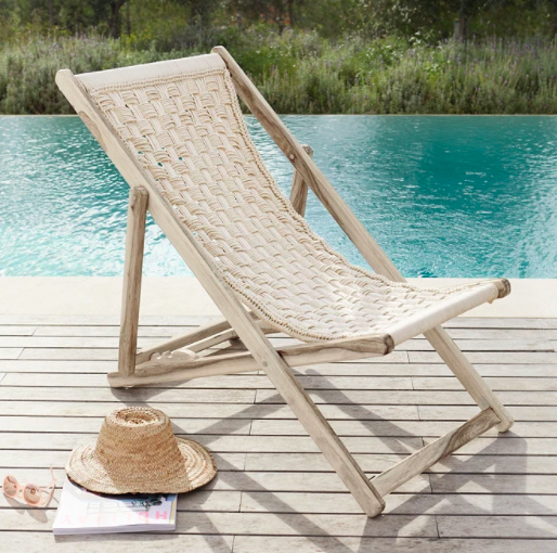 Woven deck chair, £255, The White Company
