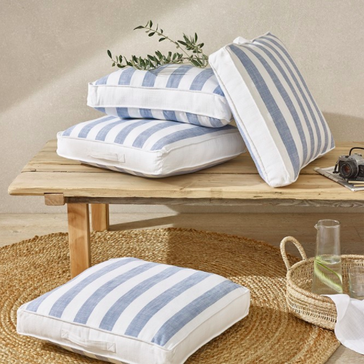 White blue stripe scatter cushion, £38, The White Company