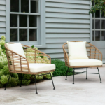 Pair of bamboo armchairs, £500, Garden Trading
