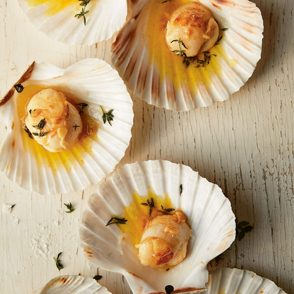 Hand-Dived Cornish Scallops, Pan-Fried with Thyme, Garlic and Butter