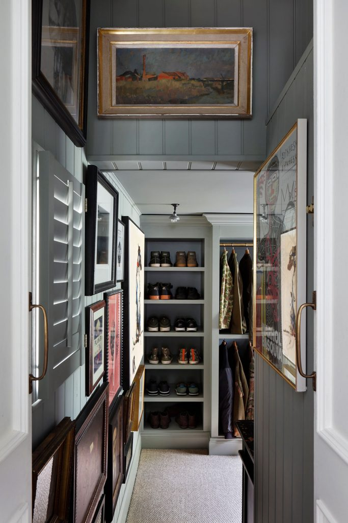 Tongue and groove walls in corridor designed by Ham interiors. Image: Alexander James
