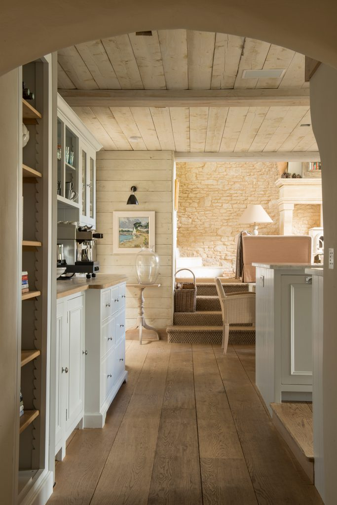 Rustic tongue and groove ceiling and walls at The Old School House, home of designer Emma Sims Hilditch