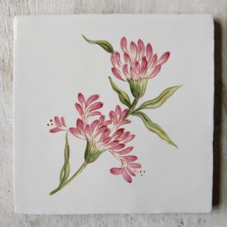The Home Page x ArA Design Studio Riverbank Collection hand-painted ceramic tile 'Honeysuckle'