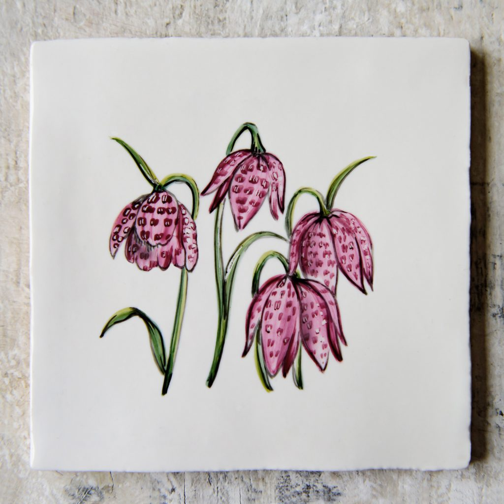 The Riverbank Collection of hand-painted ceramic tiles by The Home Page x ArA Design Studio 'Fritillaria'