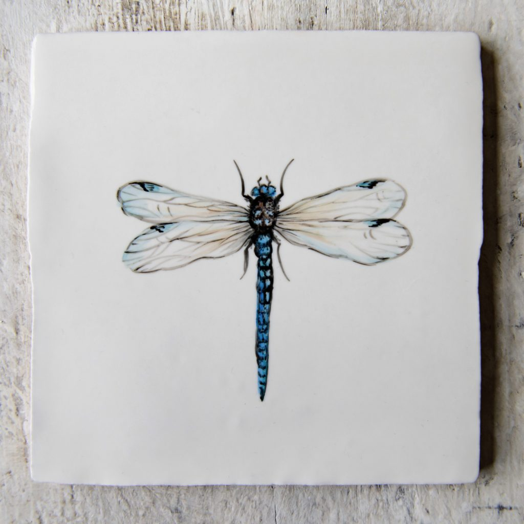 The Home Page x ArA Design Studio Riverbank Collection hand-painted ceramic tile 'Dragonfly'