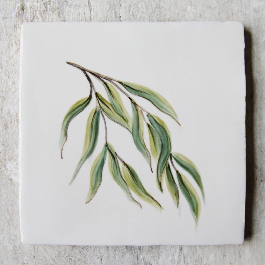 The Riverbank Collection of hand-painted ceramic tiles by The Home Page x ArA Design Studio 'Willow'