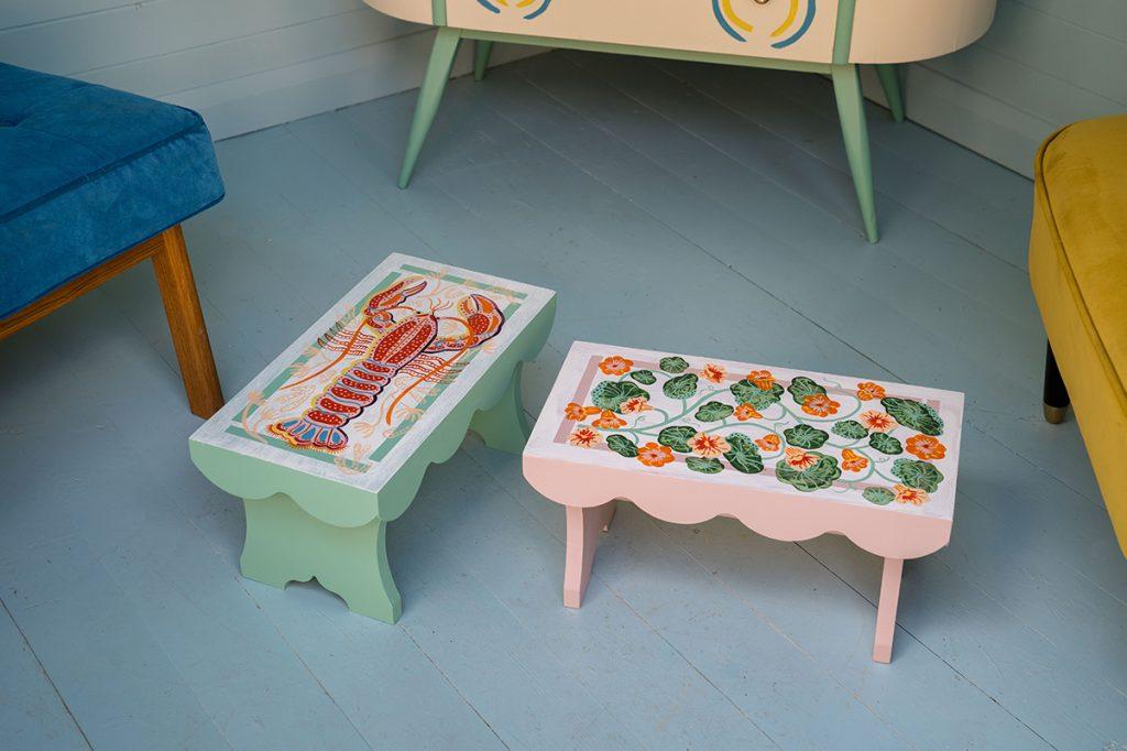 Camilla Perkins painted stools available at Liberty