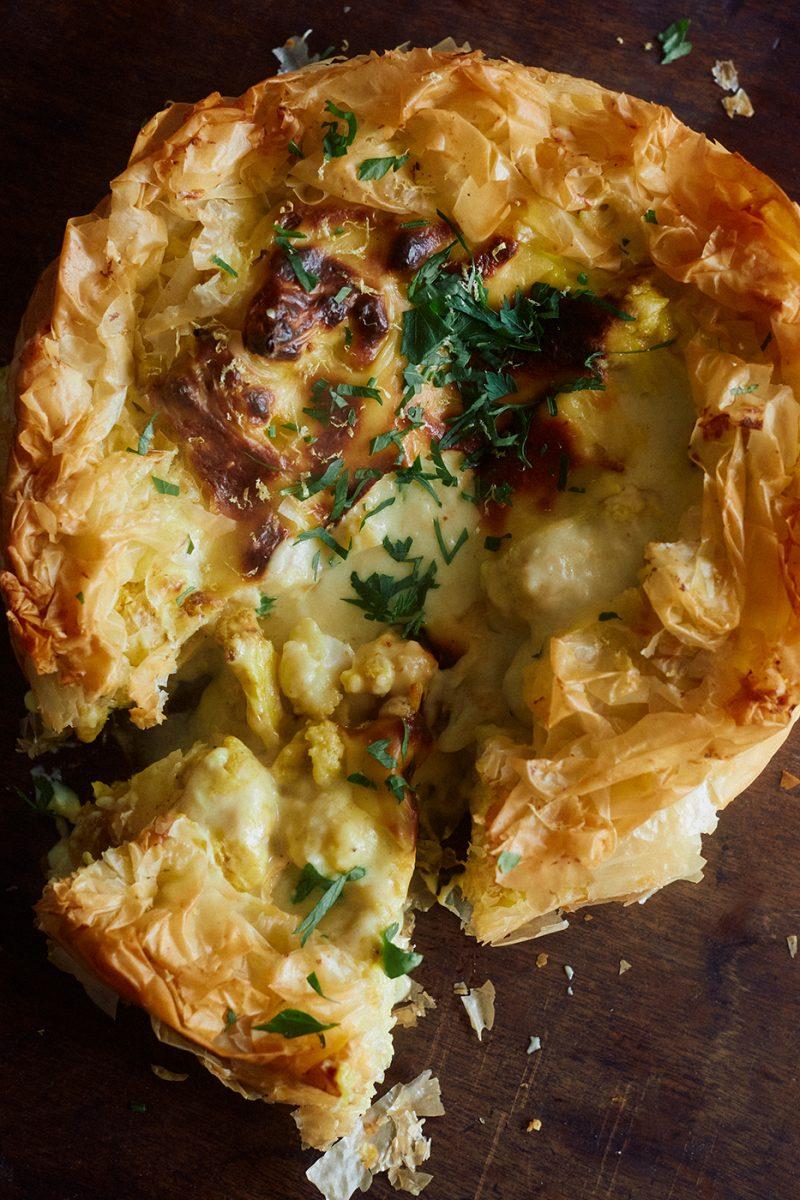 Cauliflower Cheese Pie recipe from Shelf Love by Ottolenghi Test Kitchen. Image: Elena Heatherwick
