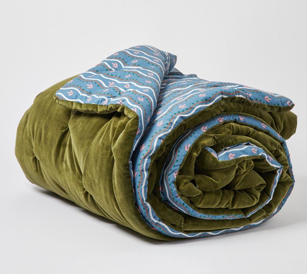 Moe Printed Quilted Olive Green Velvet Bedspread, £155, Oliver Bonas